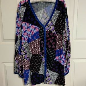 Woman Within Plus Size V-neck, Long Sleeve Blouse